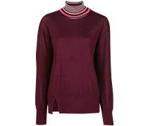 contrast trim turtleneck sweater
