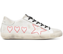 White Superstar Perforated Leather Sneakers