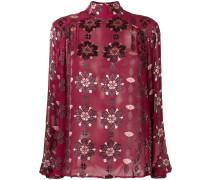 Bluse mit semi-transparentem Einsatz