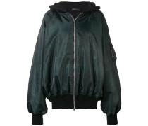 loose elongated bomber jacket