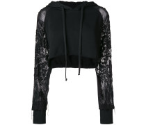 cropped hoodie with embroidered sheer sleeves