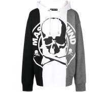 colour block skull hoodie