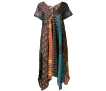 patchwork printed asymmetric dress