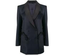 ruffle pocket double-breasted blazer