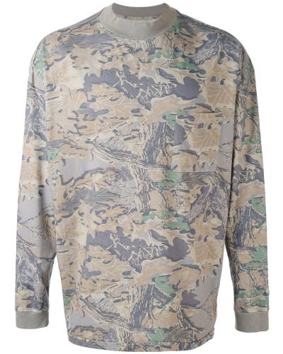 Langarmshirt mit Laub-Print