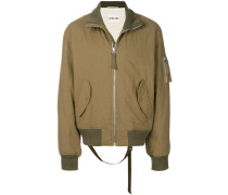 high-collar bomber jacket