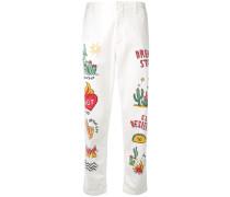 Schmale Jeans mit buntem Print