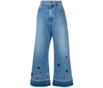 cut-out heart cropped jeans