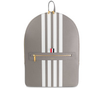 Backpack With White Contrast 4-bar Stripe In Pebble Grain & Calf Leather