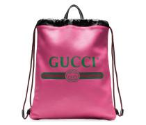Rucksack aus Leder mit Logo