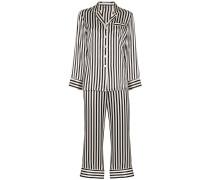 Gestreifter 'Lila' Pyjama aus Seide