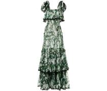 Gestuftes Kleid mit Geranien-Print