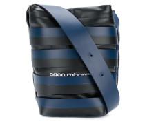 striped bucket logo shoulder bag