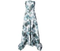 Schulterfreies Abendkleid mit Blätter-Print