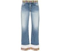 Boyfriend-Jeans mit Perlen