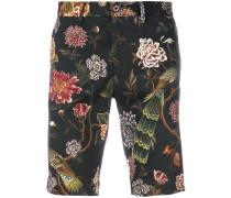 floral peacock print shorts