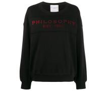 red glitter embellished logo sweater