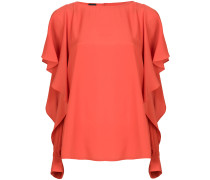 slit frill trim sleeves blouse