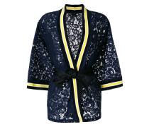 contrast trim lace kimono