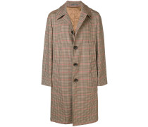 checked single-breasted overcoat
