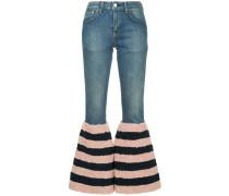 Bootcut-Jeans mit gestreiftem Saum