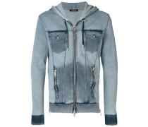 denim-effect hooded sweatshirt