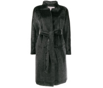 Texturierter Mantel mit Gürtel