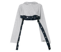 cropped popper hoodie