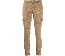 Cropped-Jeans mit Leo-Print