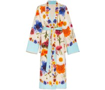 floral print quilted silk maxi robe