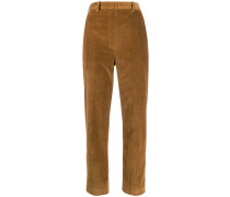 corduroy effect high-waist trousers