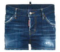 Kurze Jeans-Shorts in Distressed-Optik