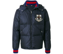 patch hooded padded jacket