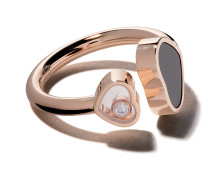 18kt  gold Happy Hearts onyx and diamond ring - Unavailable