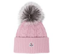 Pink wool beanie hat with pom pom