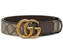 brown GG Supreme Marmont leather belt