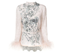 printed feather-trim blouse