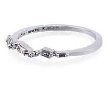 18K White Gold and diamond Baguette Thin Band