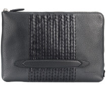 woven panel clutch bag