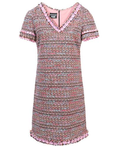 Tweed-Kleid mit V-Ausschnitt