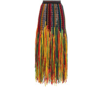 Fringed wool and silk blend skirt