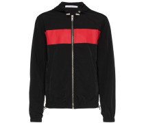logo print stripe hooded jacket