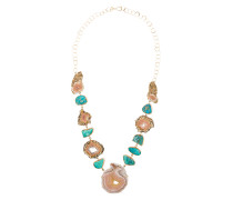 14kt yellow gold laguna agate & turquoise necklace