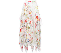 floral-print lace-trimmed ruffled midi skirt