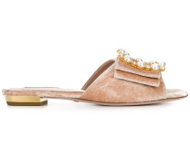 gemstone and pearl buckle front sandals