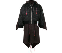 check-pabelled layered coat