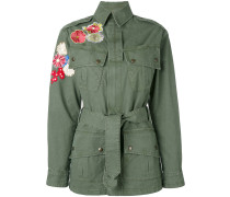 Military-Parka mit Blumen-Patches