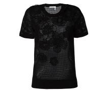 T-Shirt mit floralem Netzeinsatz
