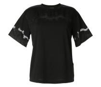 Satin-T-Shirt mit Spitzeneinsätzen