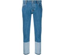 cropped trim detail jeans